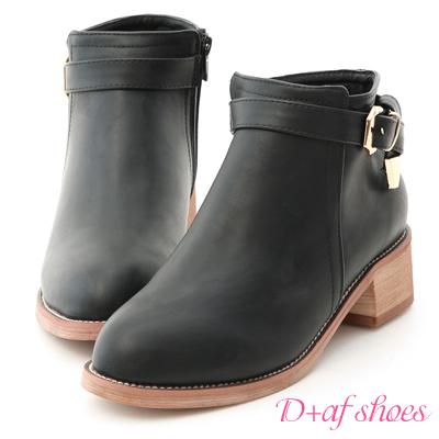 D+AF 注目話題.質感金屬釦環低跟短靴*黑