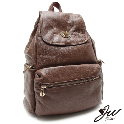 JW-後背包-真皮簡約森林系轉扣束口後背包-共三色