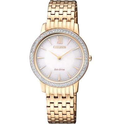 CITIZEN L 典雅奢華光動能晶鑽腕錶(EX1483-84A)-銀白玫瑰金色/29mm