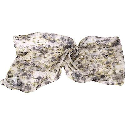 SCERVINO 100%純絲灰綠色花朵印花披肩