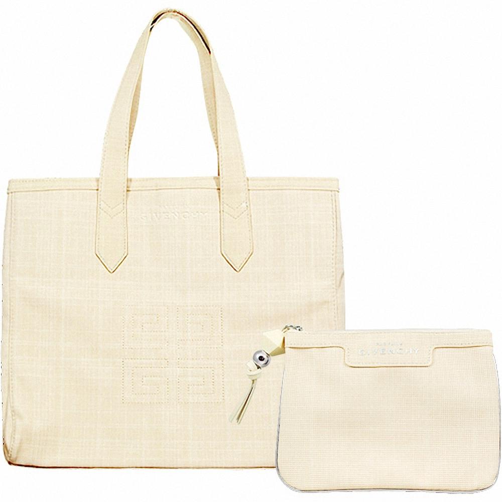 GIVENCHY 紀梵希 米色雅緻手提包+化妝包組