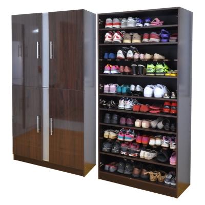 胡桃木色鏡面加深透氣鏡面四門鞋櫃(深38公分)