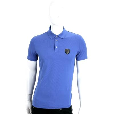 EMPORIO ARMANI 藍色盾牌LOGO棉質短袖POLO衫