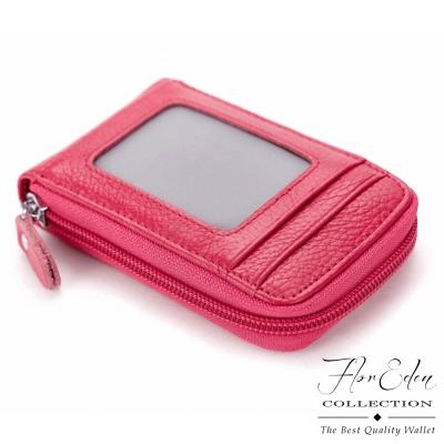 DF Flor Eden皮夾 - 真皮拉鍊式多卡名片卡夾-玫紅