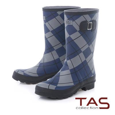 TAS 獨家學院菱格紋霧面中筒雨靴-格紋黑