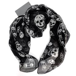 Alexander McQueen 經典骷髏真絲圍巾(104X120) (黑色)