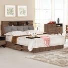 群居空間-艾貝利5尺胡桃被廚式雙人床組-(床頭箱+抽屜床底)-不含床墊
