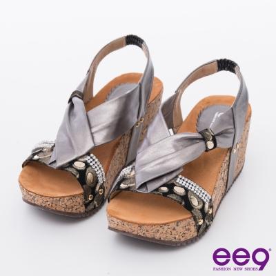 ee9-MIT經典手工-璀璨亮鑽低調奢華楔型涼鞋