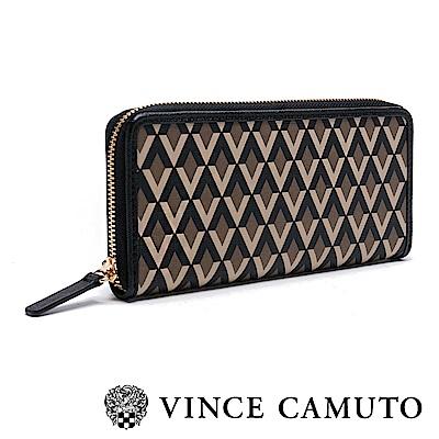 Vince Camuto 簡約菱格紋長夾-咖啡