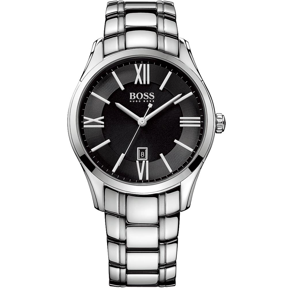Hugo Boss 羅馬時尚英倫腕錶-黑x銀/44mm