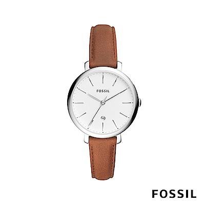 FOSSIL JACQUELINE 賈姬風尚經典真皮女錶-焦糖 約36mm ES4368