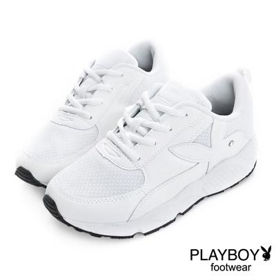 PLAYBOY 璀璨勢力 閃閃亮蔥拼接慢跑運動鞋-白(女)