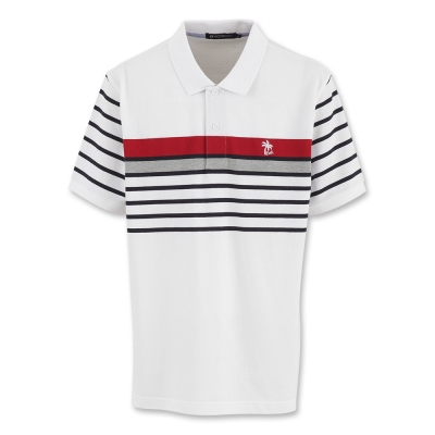 Hang Ten - 男裝 - 海灘度假條紋POLO衫 - 白