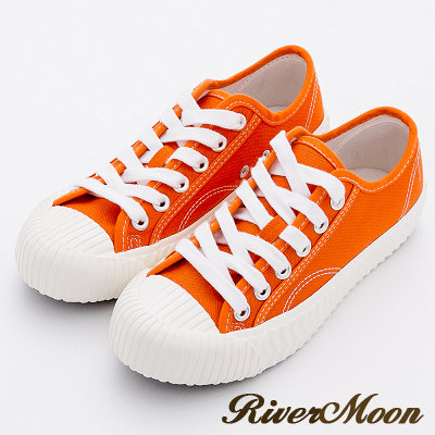 River&Moon休閒鞋-韓版繫帶厚底帆布餅乾鞋-橘