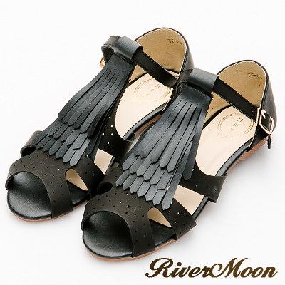 River&Moon涼鞋-復古學院風-T字流蘇扣踝平底涼鞋-黑