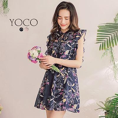 東京著衣-yoco花樣漫舞滿版印花波浪袖襱綁帶洋裝-S.M.L(共二色)