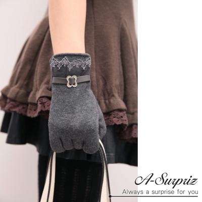 A-Surpriz 蕾絲邊仿皮革精梳棉觸控手套(深灰 )