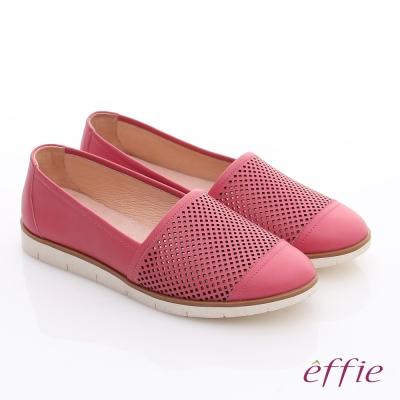 effie 都會休閒 蠟感牛皮鏤空樂福休閒鞋 桃粉紅