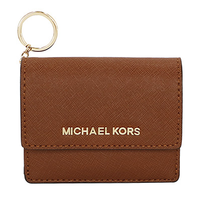 MICHAEL KORS JET SET防刮真皮扣式鑰匙零錢包(駝色)