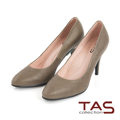 TAS 蛇紋壓紋牛皮金屬拼接高跟鞋-墨綠