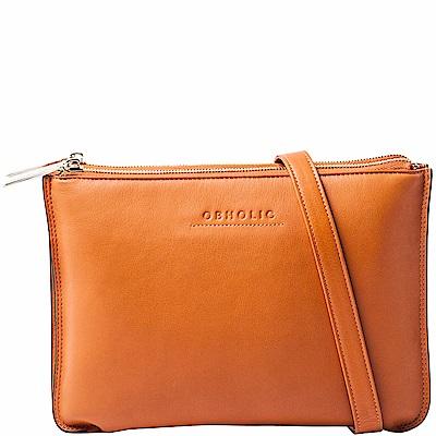 OBHOLIC 橘色牛皮手拿包肩背包 雙層