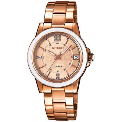 CASIO SHEEN系列 極簡典雅水晶鑽錶-玫瑰金-30mm