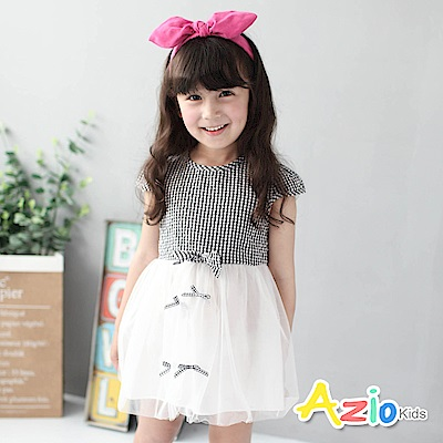 Azio Kids 童裝-洋裝 小格紋蝴蝶結網紗短袖洋裝(黑)