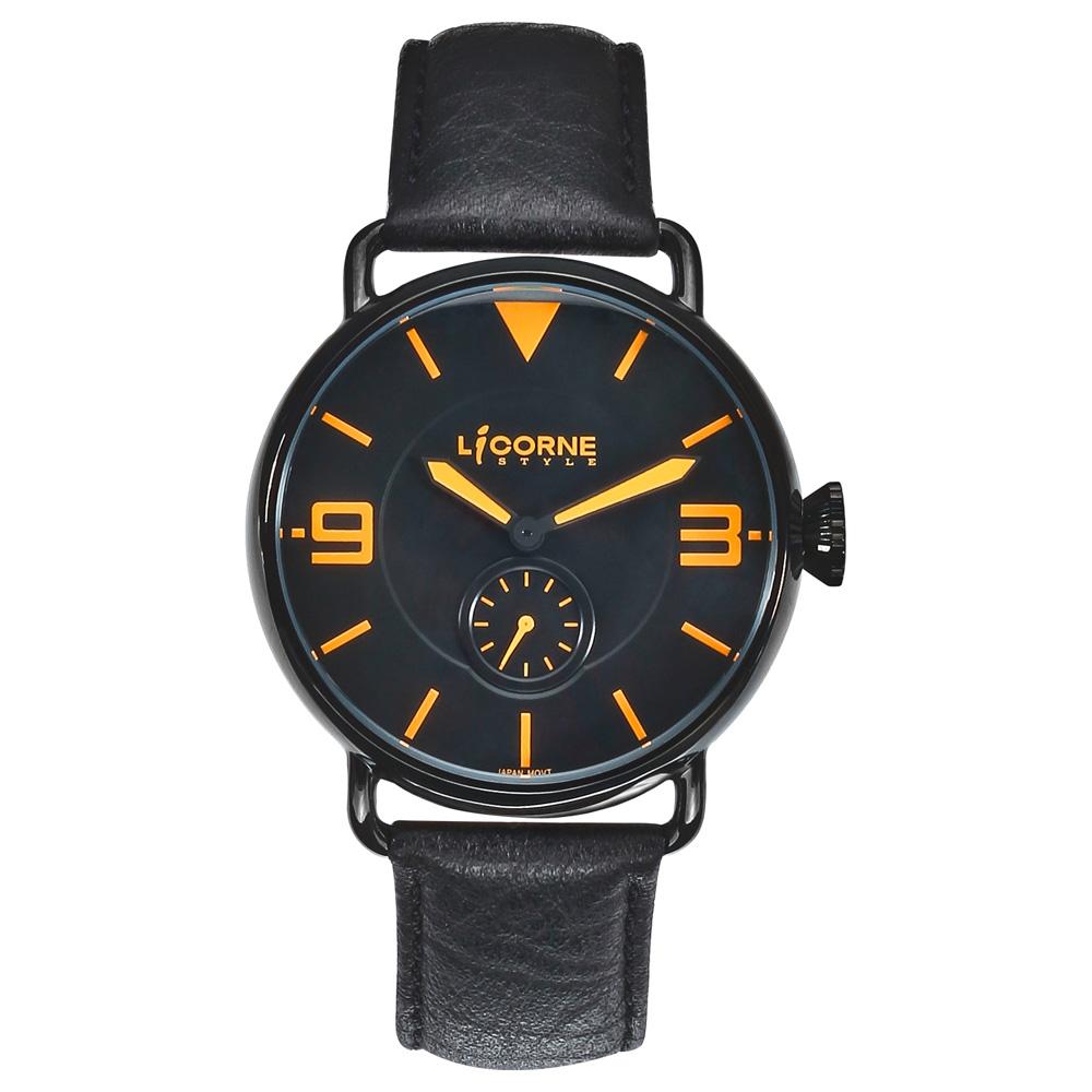 LICORNE 雷達系列小秒針腕錶-黑x黃/40mm @ Y!購物