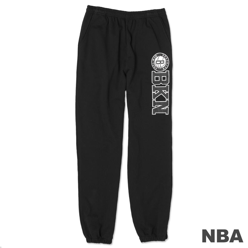 NBA-布魯克林籃網隊印花縮口棉質長褲-黑(男)