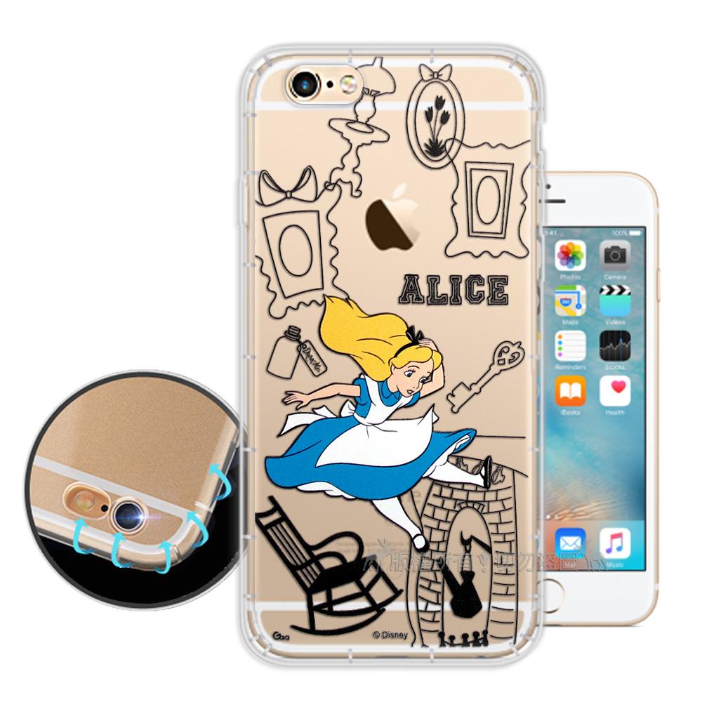 迪士尼授權iPhone 6s Plus 6 Plus簡約線條空壓安全手機殼愛麗絲
