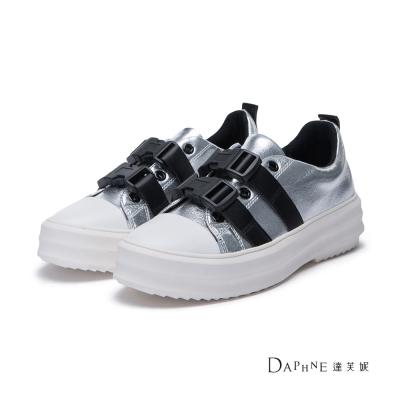 達芙妮DAPHNE 休閒鞋-按壓扣尖頭厚底休閒鞋-銀