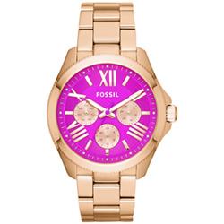 FOSSIL 喜劇人生都會三眼腕錶-桃紫