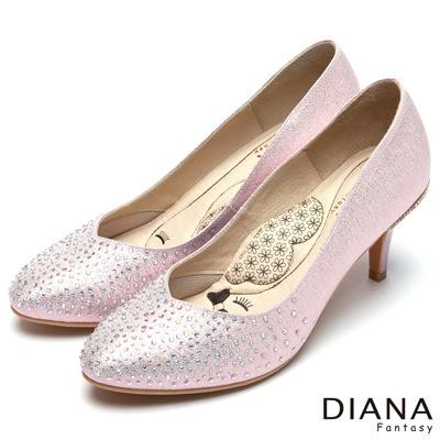 DIANA 漫步雲端LADY款--馬卡龍系耀眼水鑽跟鞋-粉
