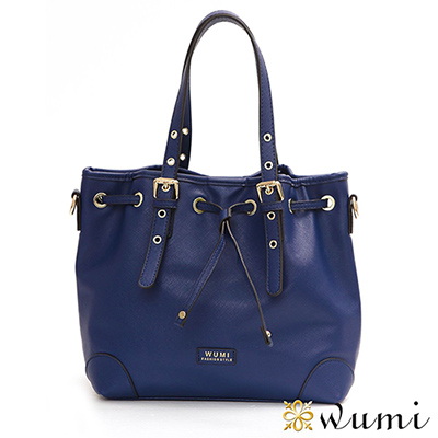 WuMi 無米 貝絲經典十字紋水桶包 寶藍