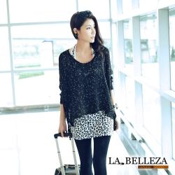 【La Belleza 中大尺碼】寬版混色金蔥前短後長針織毛衣