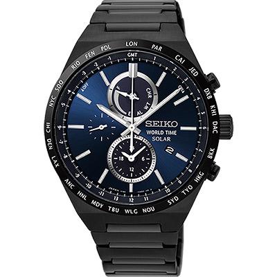 SEIKO 精工 SPIRIT 太陽能兩地時間計時腕錶(SSC525J1)-藍x鍍黑