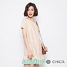 CHICA 午茶時光條紋拼接野餐洋裝(3色)