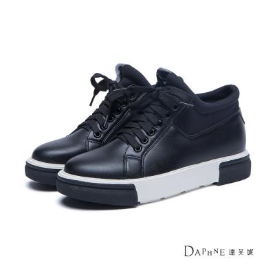 達芙妮DAPHNE 休閒鞋-黑白撞色拼接綁帶休閒鞋-黑