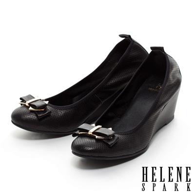 HELENE-SPARK-金屬扣雙層蝴蝶結打洞牛皮