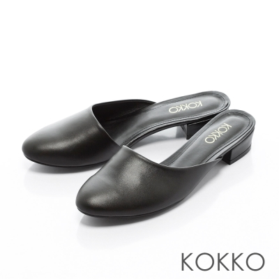 KOKKO-時髦氣勢不對稱鞋口平底穆勒拖鞋 - 經典黑