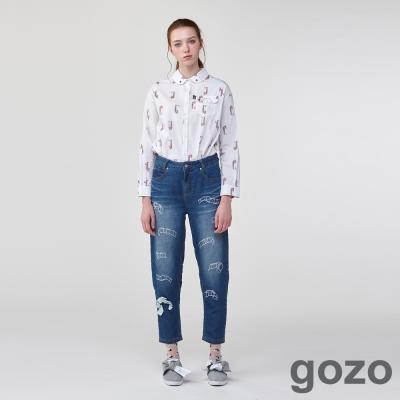 gozo膠卷塗鴉丹寧男友褲(二色) -動態show