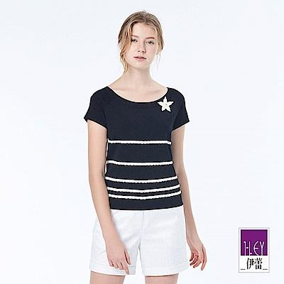 ILEY伊蕾 簡約花飾縫珠針織上衣(黑/白)