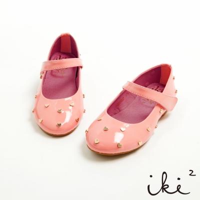 iki2童鞋 甜心下午茶系列-真皮夢幻公主愛心滿點娃娃鞋-蜜糖粉
