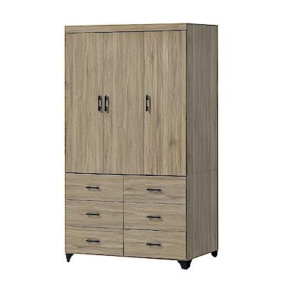 品家居 薇亞拉4尺橡木紋三門六抽衣櫃-120x56.5x196cm免組