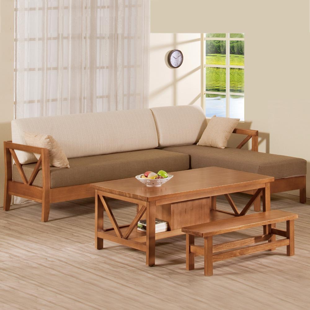 Bernice-奇爾實木L型沙發椅組 (L型+大茶几)-右型