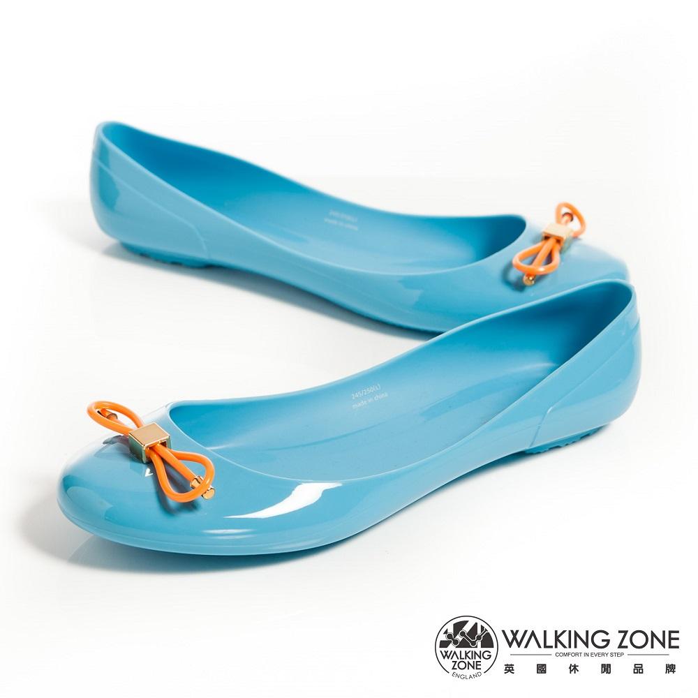 WALKING ZONE 韓版蝴蝶結亮麗配色果凍鞋-淺藍