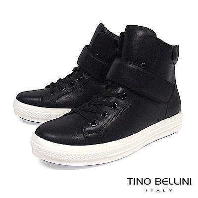Tino Bellini男孩風全真皮柔軟舒足綁帶休閒鞋_ 黑