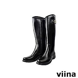 viina 側扣圓口長筒雨靴-黑色