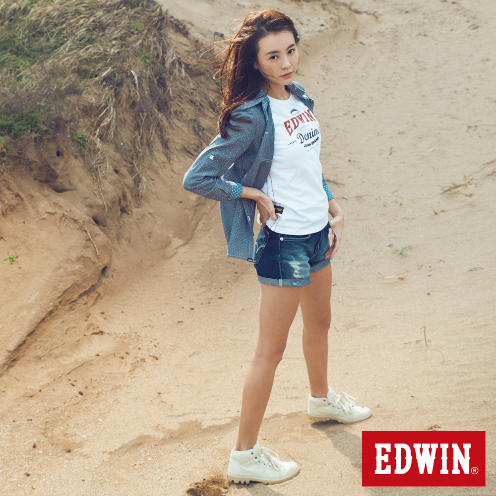 EDWIN 超短褲 MISS503磨破牛仔短褲-女-原磨藍