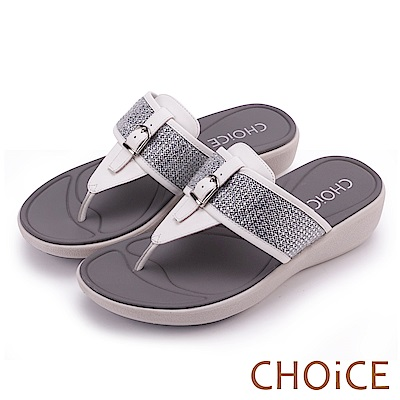 CHOiCE 時尚耀眼 細緻水鑽釦環牛皮夾腳拖鞋-白色